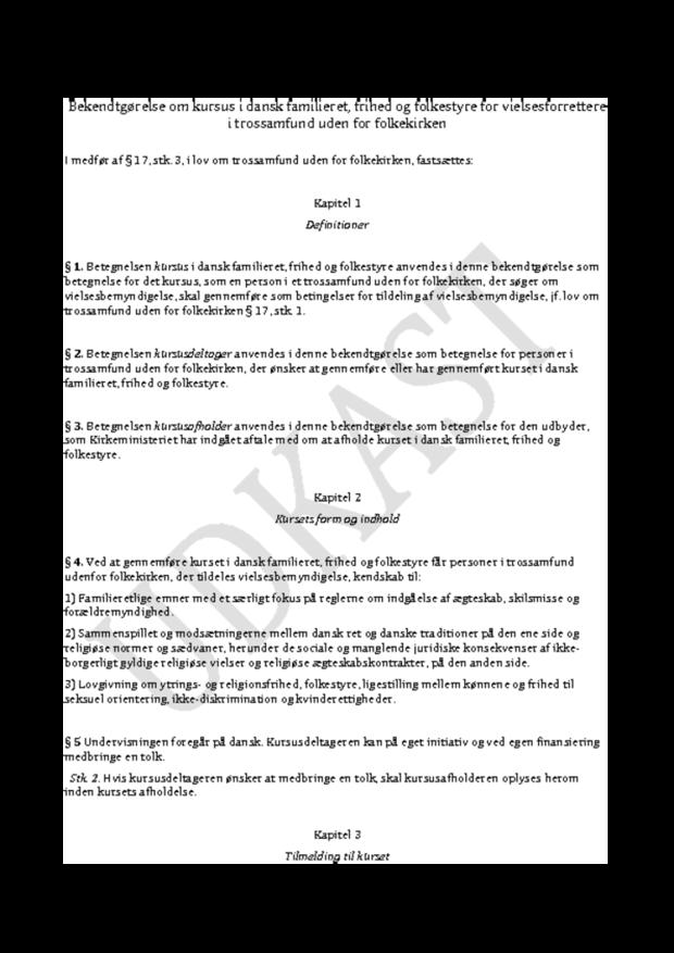 Kursus i danskhed - i høring frem til 18/1